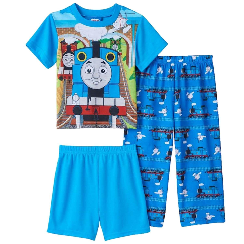 Thomas & Friends Toddler Boys Blue Short Sleeve 3-Piece Pajama Set
