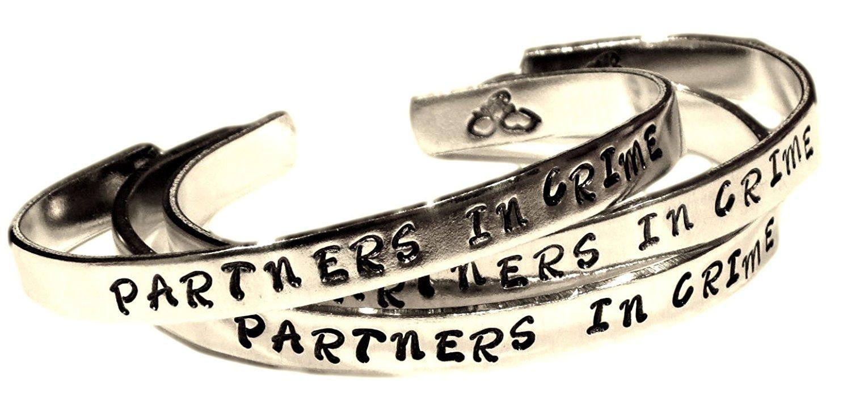 PARTNERS IN CRIME - Hand Stamped Aluminum Cuff Bracelets Set (3 Bracelets), Forever Love, Friendship, Bff Gift