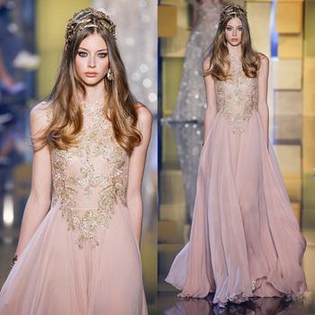 Appliqued Evening Gown Pink Designer Indian Wedding Dresses 2016