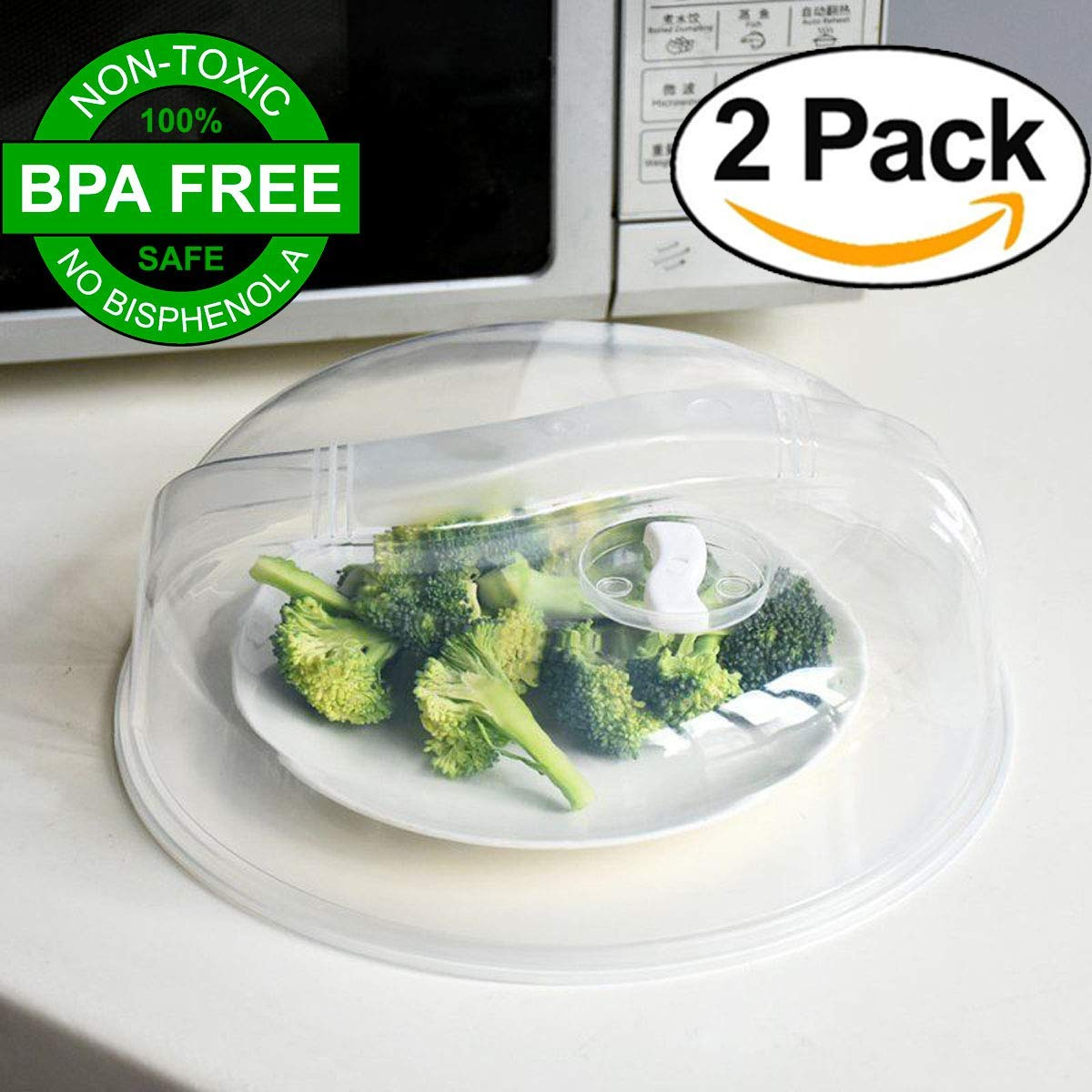 Microwave Plate Cover [BPA FREE] 2 Pack (10.5'') - Crystal Clear, Premium Quality Microwave Food Dish Cover Plate Steam Vent Splatter Lid By XERUS