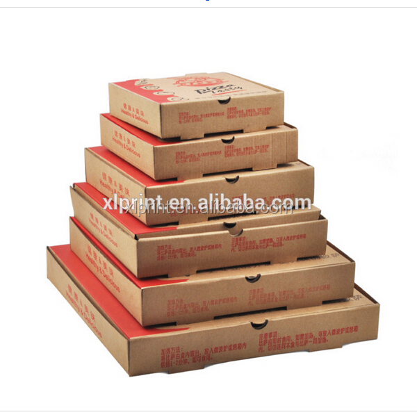 printed eco friendly food use take away kraft paper pizza packaging boxes