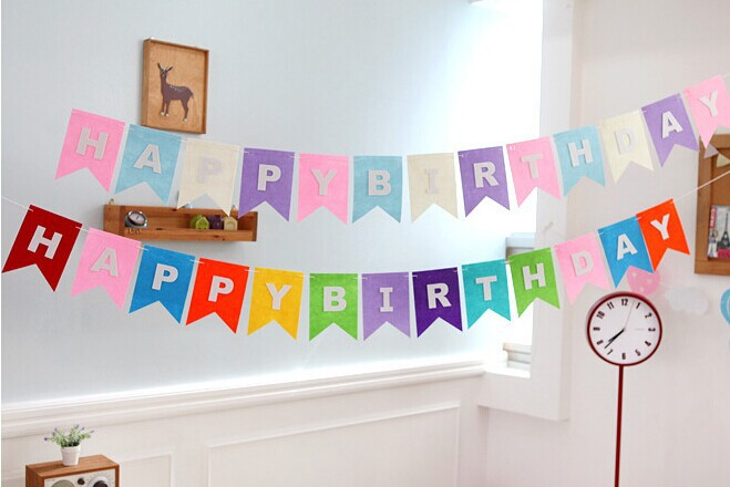 Personalized Name Paper Happy Birthday Banner With Balloons Party Wall Decor Supply Favors