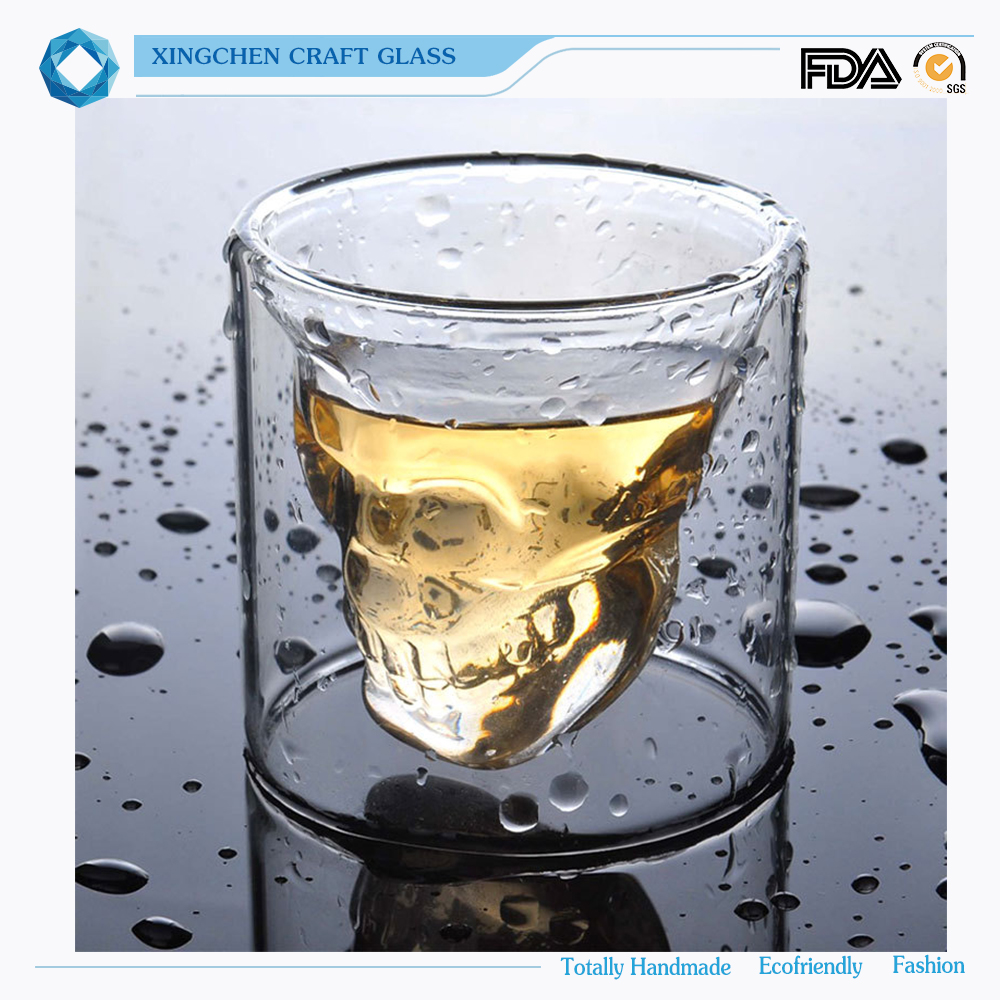 Wholesale eco-friendly Crystal skull head Whisky shot glass