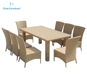 8 Seater Rattan Dining Table Garden