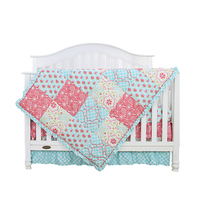 4 Piece flower printed 100% cotton sateen baby bedding set