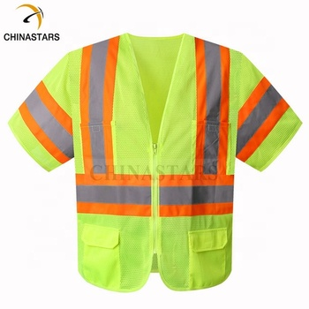 CSV-127 Mesh Fabric Yellow or Orange High Visibility Safety Vest ANSI 107 Class 3 No Flashing Led
