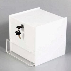 Heart shaped clear charity collection box wholesale acrylic donation box with lock