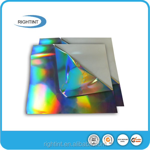Self adhesive holographic film sheets