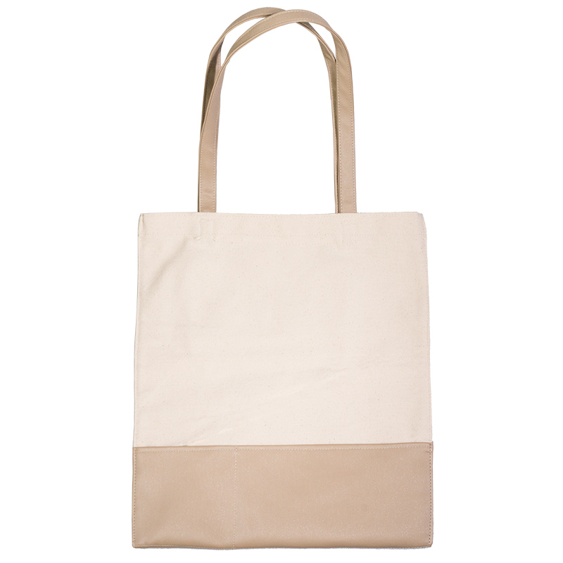 Factory original design natural cotton <strong>eco</strong> friendly and breathable canvas tote bag with pu leather handle and pu pockets