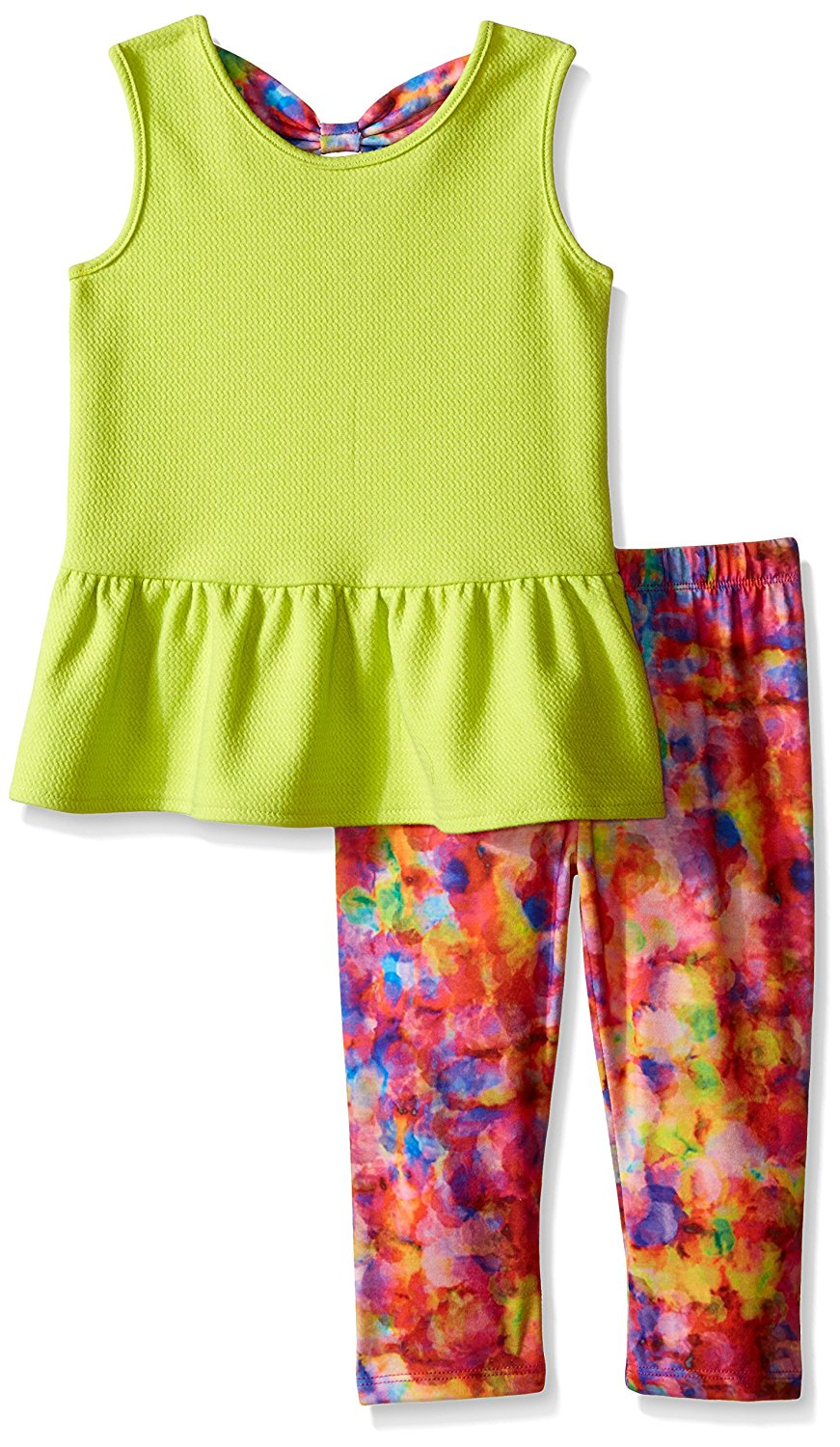Kidtopia Girls All Over Floral Front with Chiffon Top with Legging Tunic Set