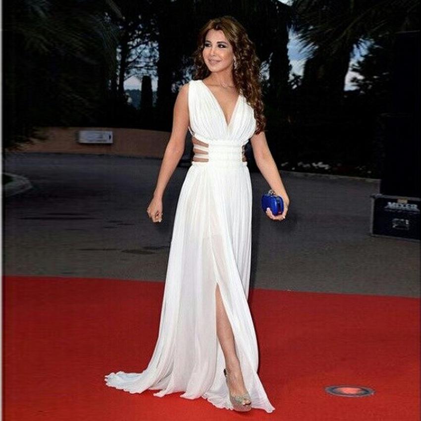 Sexy Arabic Celebrity Lebanese singer Nancy Ajram V-neck Long Evening Dresses Middle East Chiffon Red Carpet