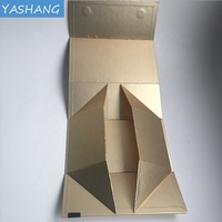 Gold pearl paper customized magnetic closure big box with ribbon printing foldable flat cosmetic pack rigid box