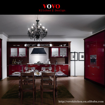 Luxury Dark Red Lacquer Kitchen Cabinet With Tall Pantry