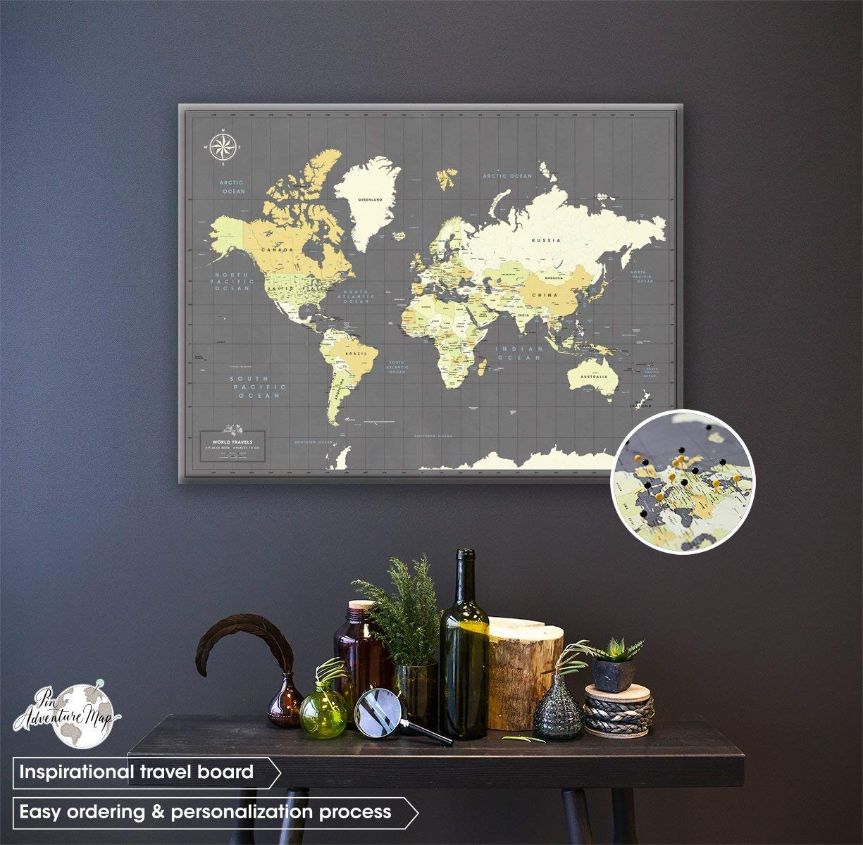 Canvas Push Pin Travel Map - Personalized World map with pins - Fine Art Quality