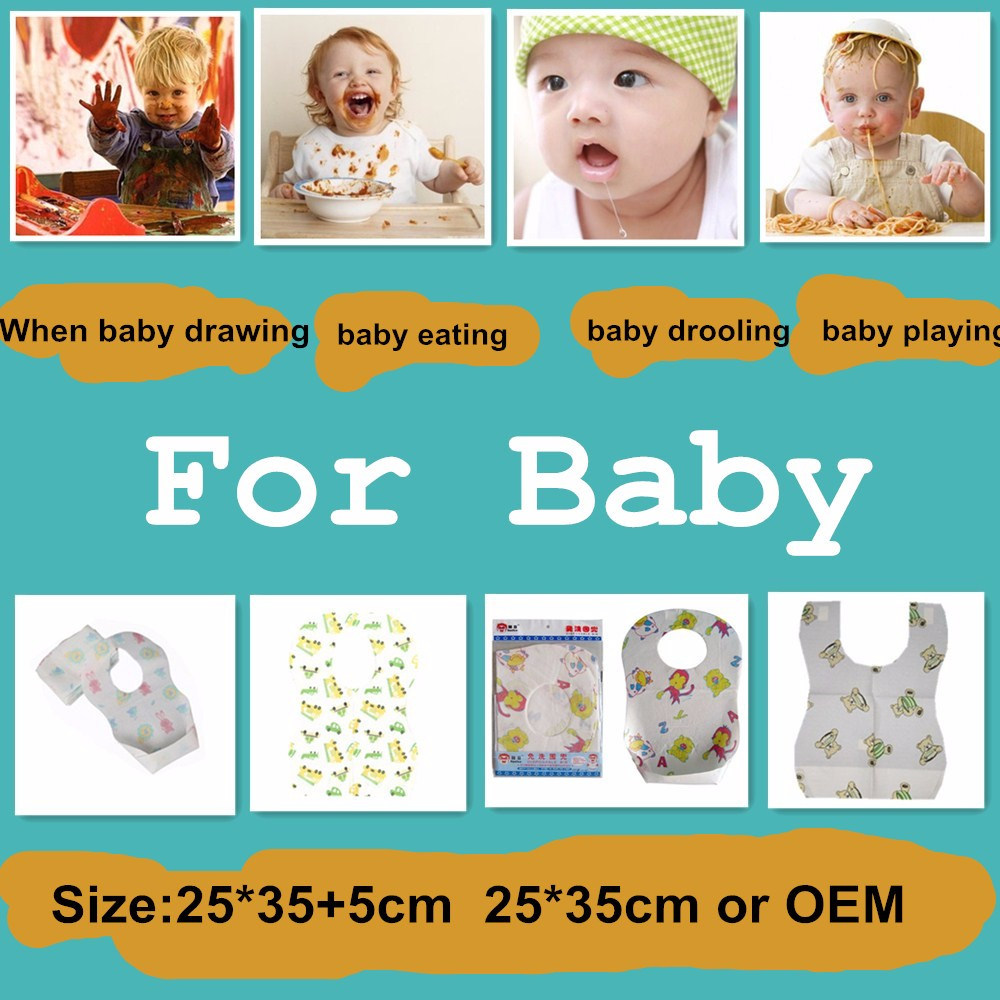 Lower Price Disposable Custom Printed Knitted Baby Bib