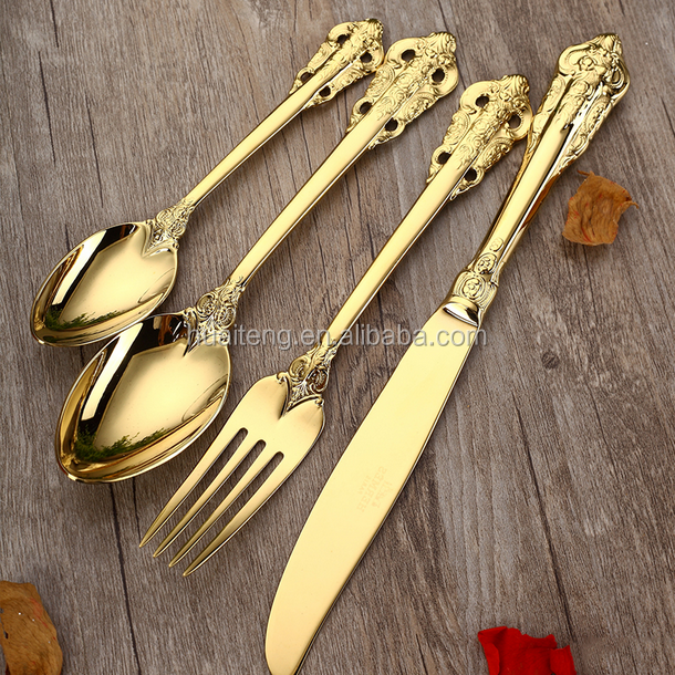 2018 high quality eco-friendly disposable PS plastic gold cutlery set /fork/knife/spoon