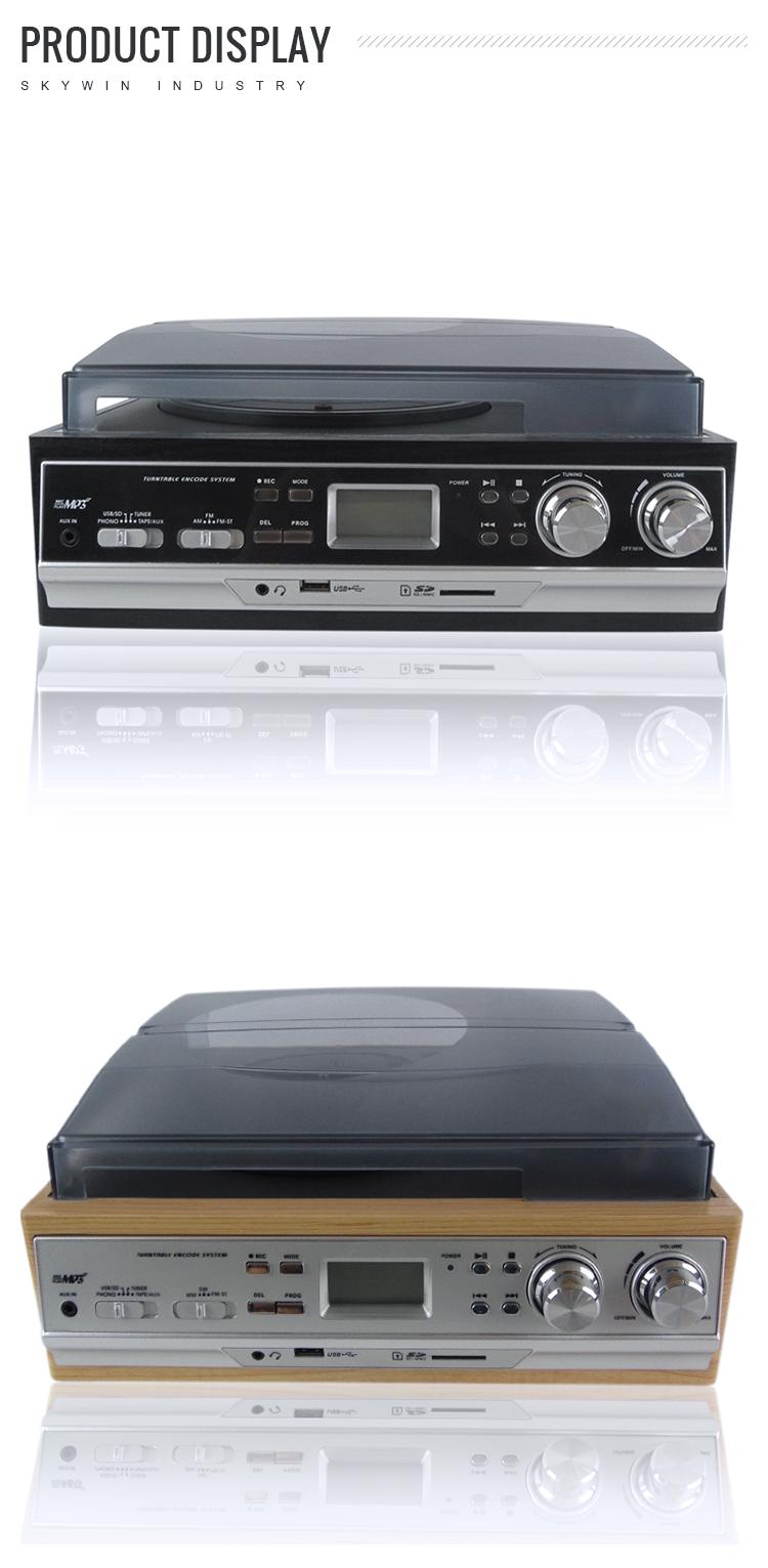 高品質ビニールプレーヤーターンテーブルラジオ cd プレーヤー FM ラジオ