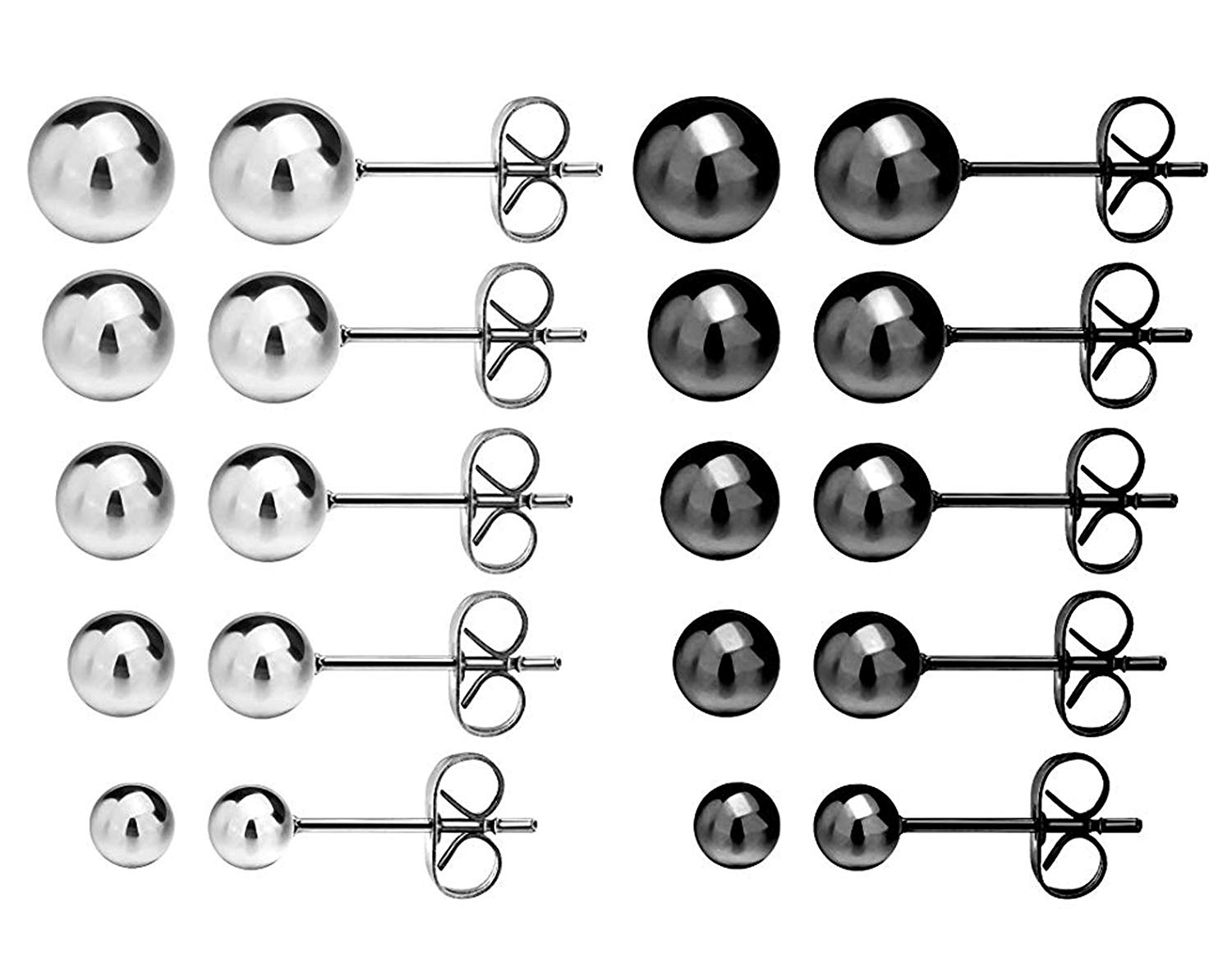 Get Quotations Women S Ball Stud Earrings 10 Pairs 316l Surgical Stainless Steel Round Bead
