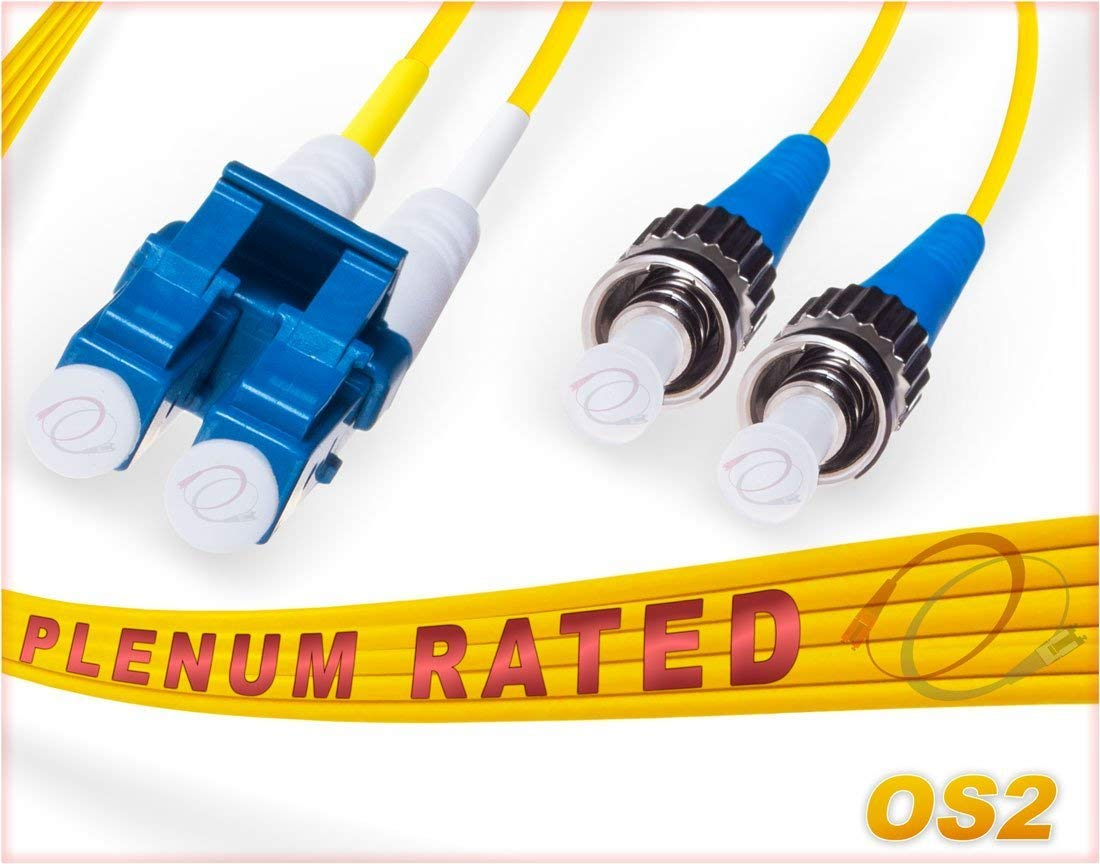 6M OS2 LC ST Fiber Patch Cable | Plenum Duplex 9/125 LC to ST Singlemode Jumper 6 Meter (19.68ft) | Length Options: 0.5M-300M | FiberCablesDirect - Made In USA | lc-st single-mode st-lc yellow ofnp