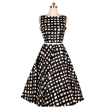 B10585a Women\'s White And Black Plaid Frock Designs Rockabilly Swing ...