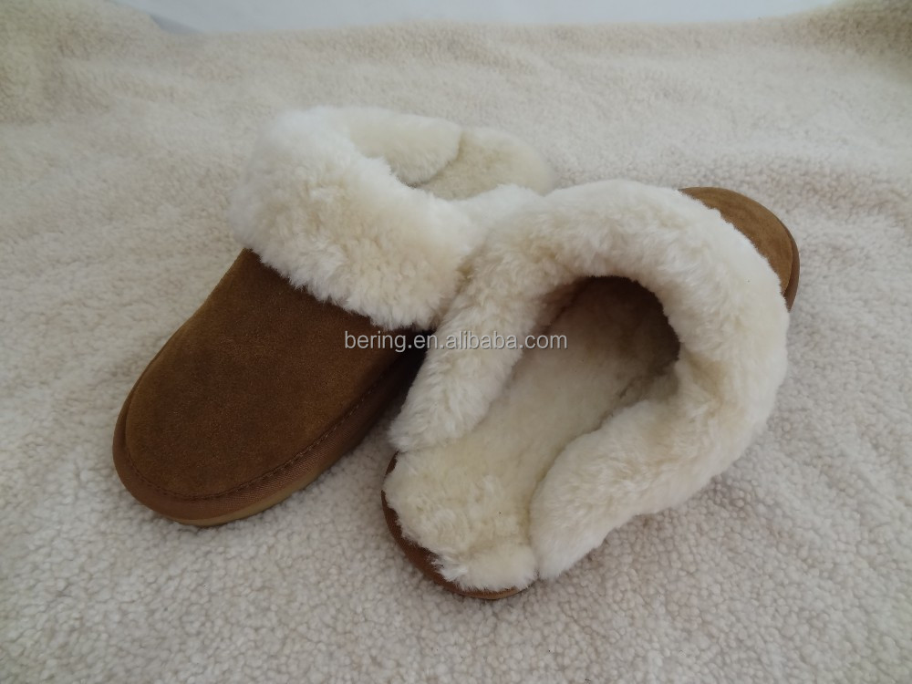Cow Split Leather Shearing Sheepskin Warm Indoor Home Use Slipper for Ladies in Winter