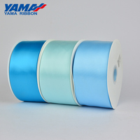 Yama stocked 196 colors single/double faced 100 MM polyester blue 4 inch satin ribbon