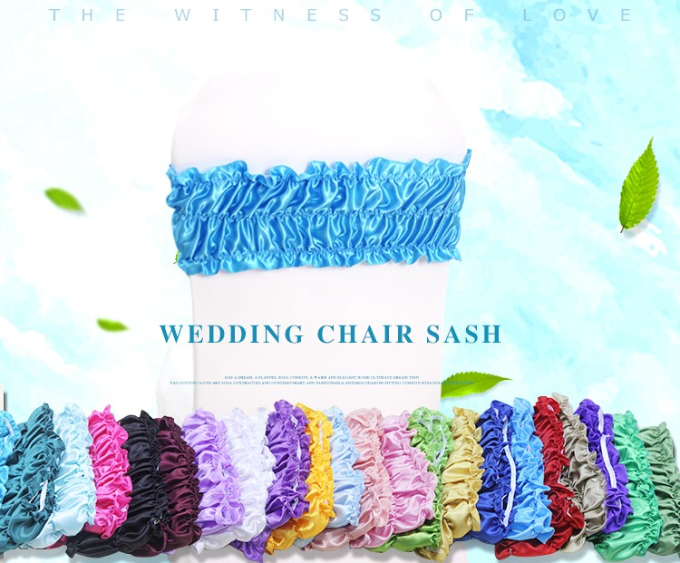 factory price satin fabric bubble elastic Chair Bands,blue Spandex Chair Sash chair bow for banquet Wedding Decoration