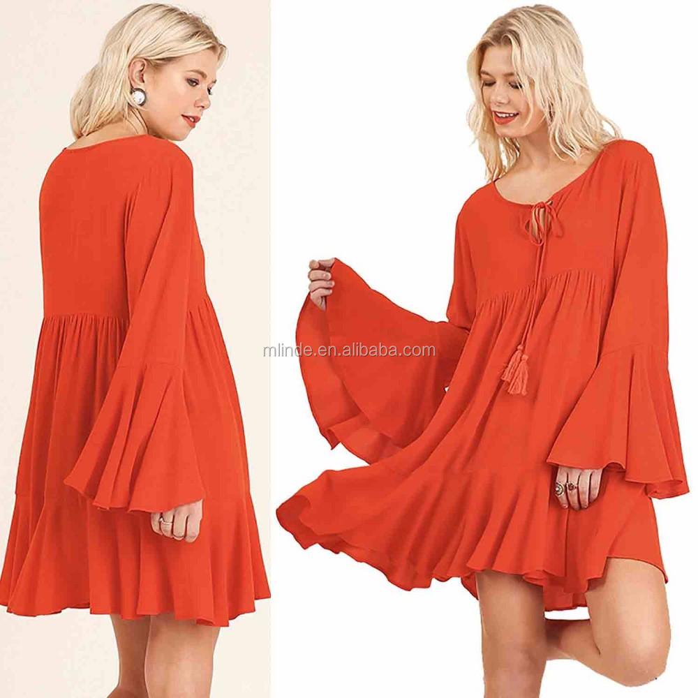 Glocke Ärmel Kleid 60% Baumwolle 40% Polyester Westlichen Tunika ...