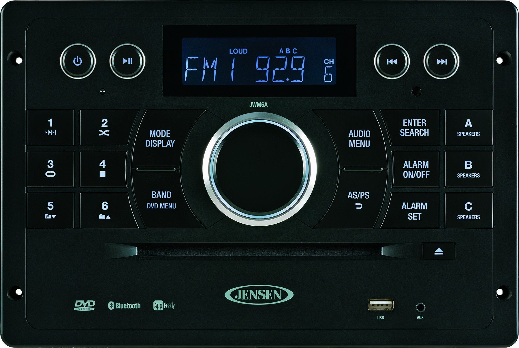 Jensen JWM6A Bluetooth Capable Device. AM, FM, DVD, USB, HDMI. Streaming Audio from Bluetooth Enabled Audio Sources Devices
