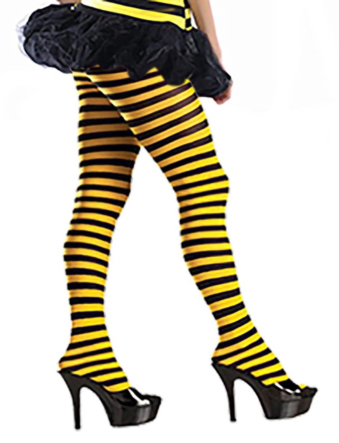 3ee405214 Get Quotations · Women s Bumblebee Tights Me Before You Yellow and Black  Striped Pantyhose Tights