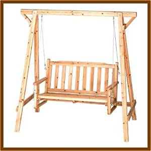 Get Quotations · Rustic Wooden Garden Chair Swing New