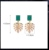 Fashion Jewelry Emerald Green Resin Stud Gold Plated Leaf Drop Earrings