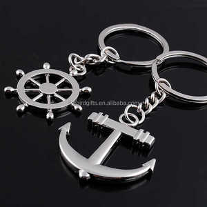 custom zinc alloy metal silver rudder anchor keychain