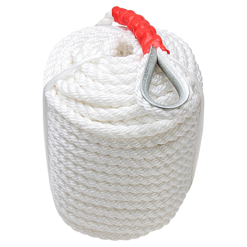 Bang4buck Three Strand Nylon Anchor Rope 1//2 inch 100 Feet //200 FeetBraided Dockline for Boat//Sailboat//Sled Line with Thimble and 5850LB Breaking Strain