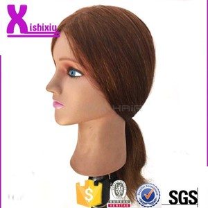 2015 cheap cosmetology salon Practice Human Hair Training Head For Barber Shop