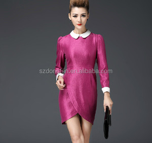 women clothing designer one piece party dressWholesale Elegant Women Office Dress 2016 with Round Collar Long sleeve Party Dress