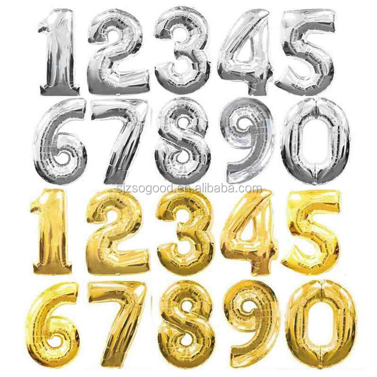 40 Inch Gold/Silver Number 0-9 Wedding Foil Balloons Kids Birthday Party Supplies Baby Shower Decorations Event