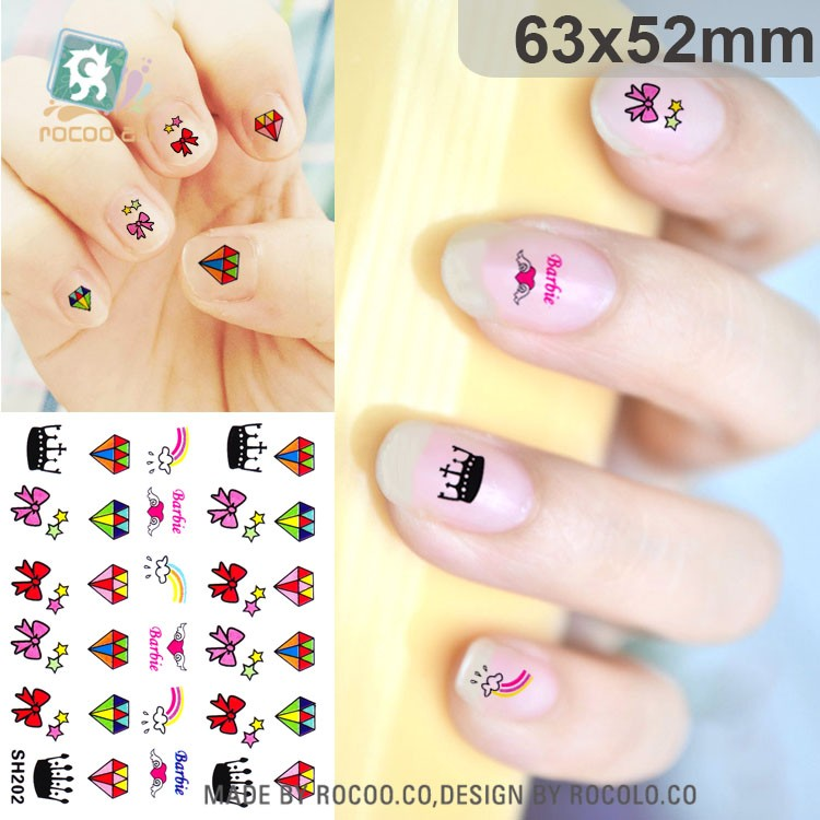 Sh201/24 Styles Funny Nail Art Sticker And Kids\' Nail Wrap Decals ...