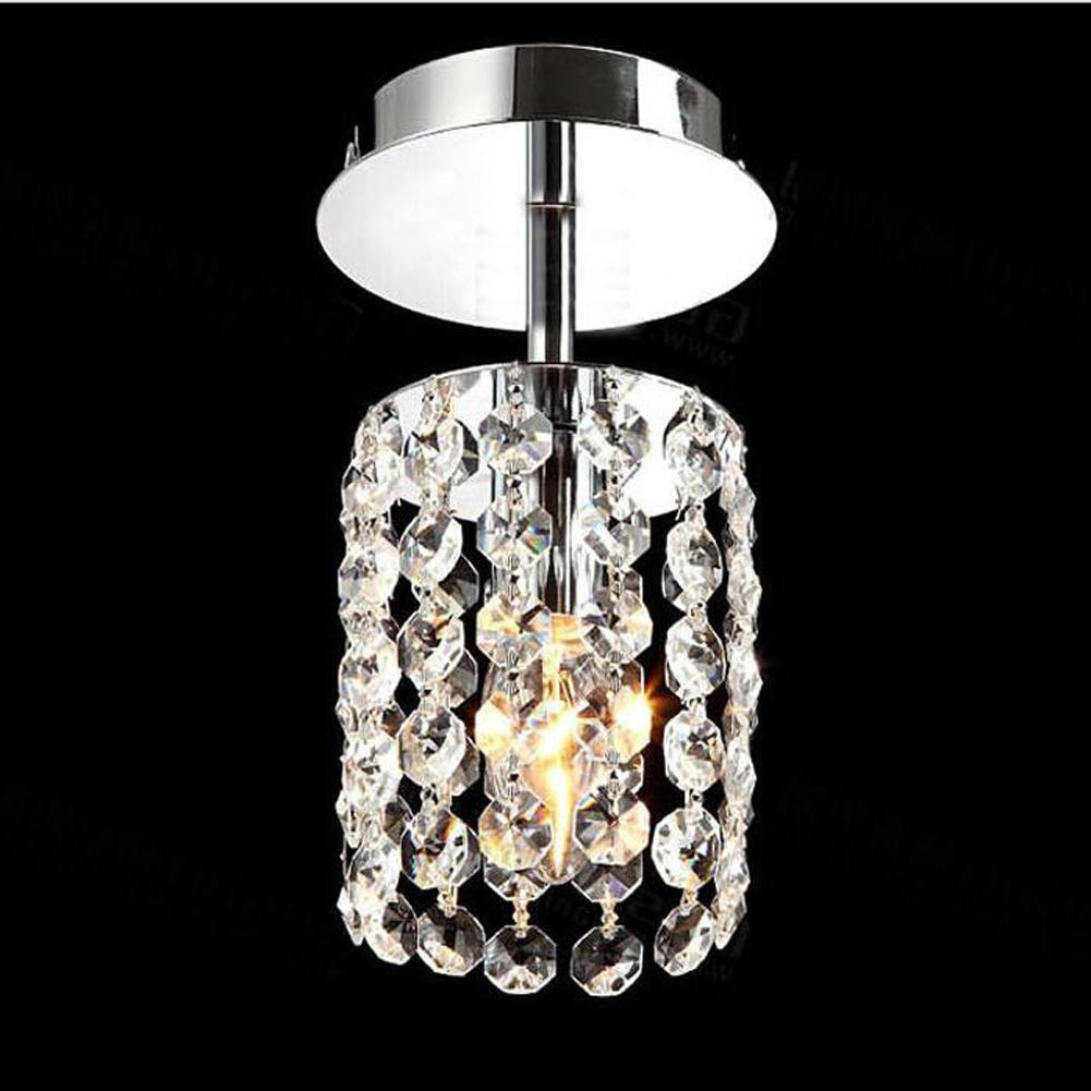 Wei-d Modern Simple Aisle Lamp Crystal Chandelier Single Head Ceiling Lamp Balcony Lamp Hall Lights LED Small Entrance Chandelier , as picture