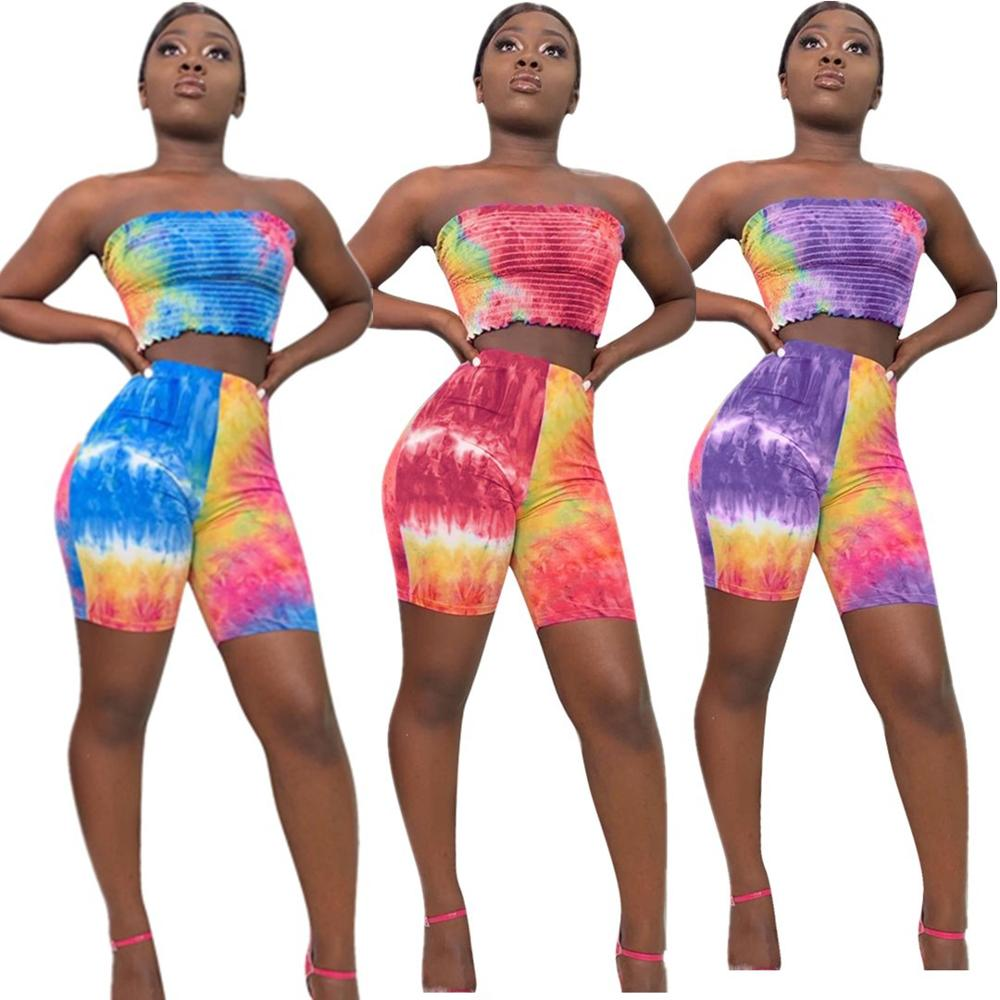 2019 Women Clothing Tie Dye Rompers Shorts Sets Tie Dye Two Piece Set