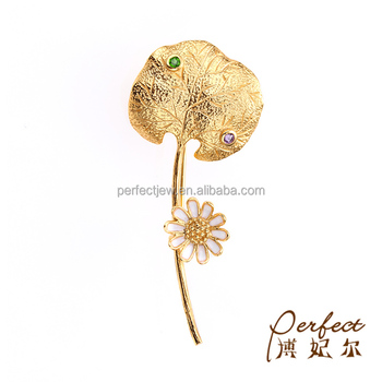 Fashion Women Gold Plated 925 Sterling Silver Flower Brooch with Amethyst