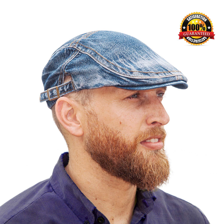 Zhuhaitf Mens Ladies Denim Ivy Cap Uni-Sex Cotton Flat Cap Cabbie Newsboy Hat