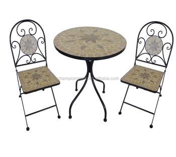 Wrought Iron Mosaic Table Set/3 Pcs Mosaic Style Bistro Set/mosaic Chair    Buy Wrought Iron Table And Chair Set,Outdoor Mosaic Bistro Set Table,Mosaic  ...