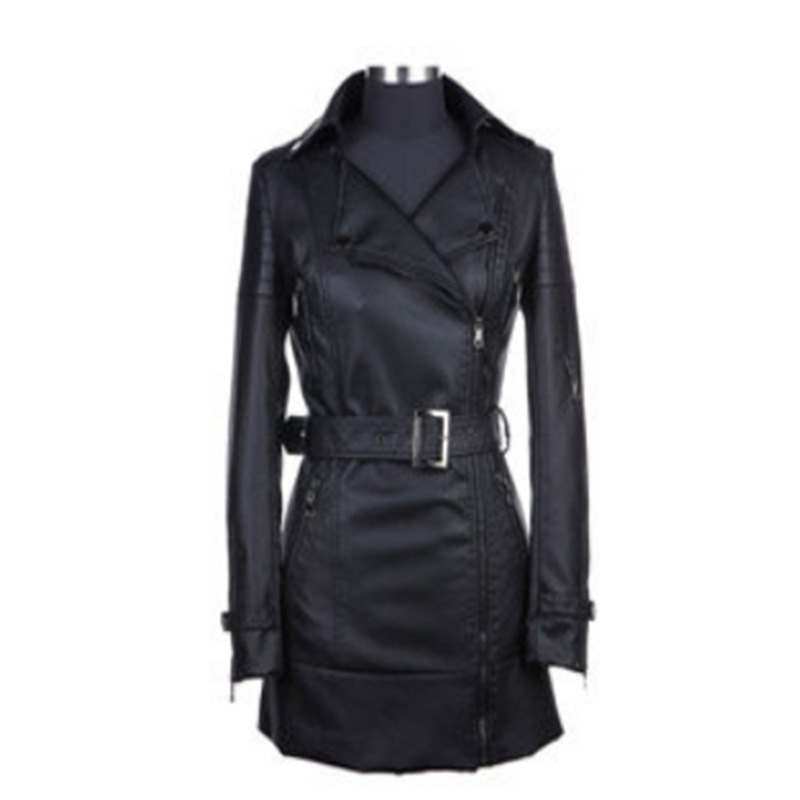2015 New Arrival Women's spring and autumn famous brand PU leather coat Womens leather medium-long Section outerwear Size:S-3XL