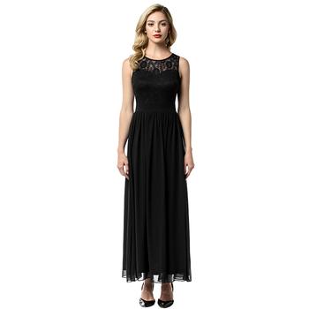 Encaje Apliques Sin Mangas Maxi Vestido Negro Vestido De Gasa De Las Mujeres Para Fiesta Formal Buy Vestido Maxi Vintagevestido Negro Para