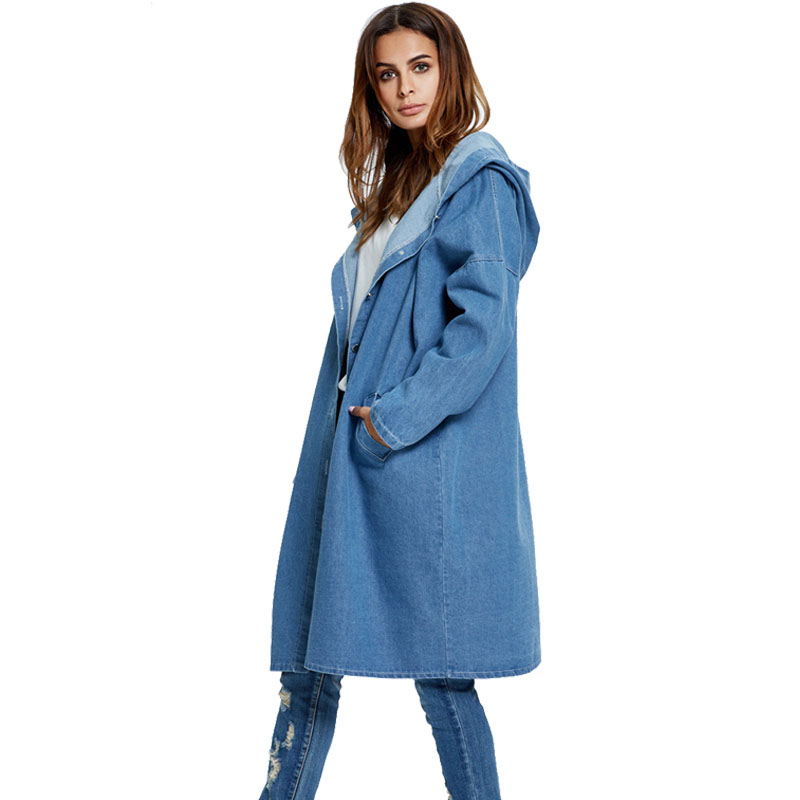 Bulk stock high quality long denim jacket hoodie <strong>trench</strong> <strong>coat</strong> <strong>for</strong> <strong>women</strong>