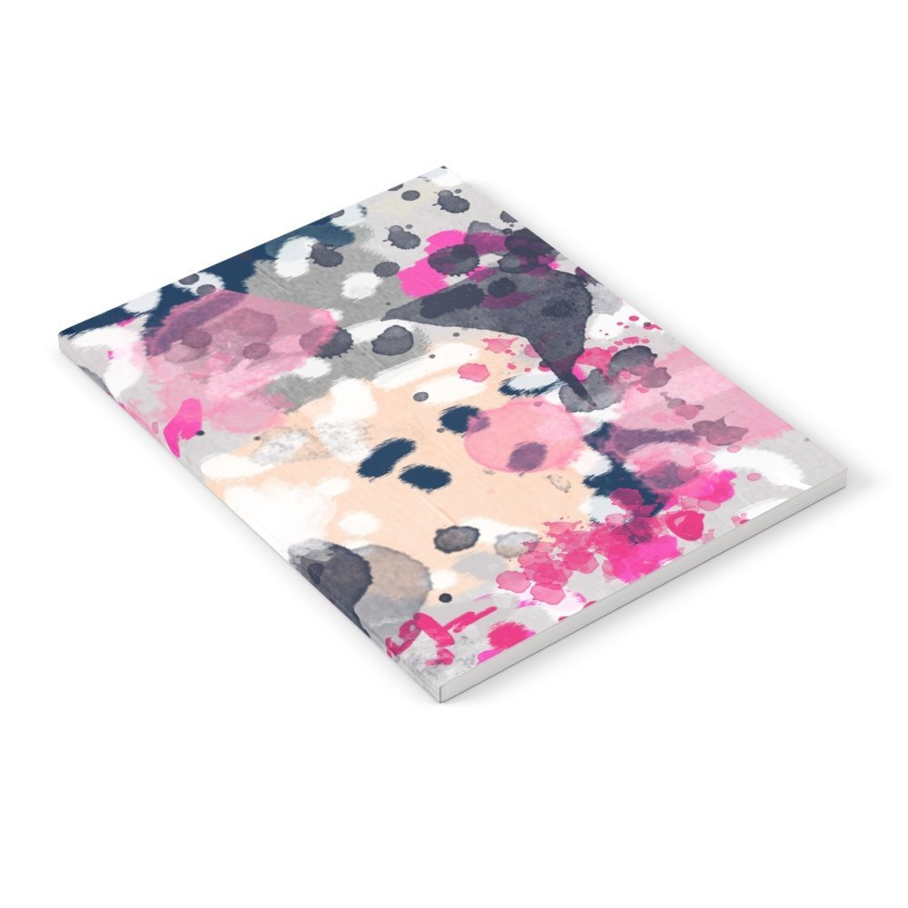 """Society6 Nico - Abstract Painting In Modern Fresh Colors Navy, Mint, Pink, Cream, White, And Gold Notebook Set of 3 6"""" x 8"""" unlined"""