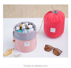 Factory OEM korean style cute round cotton travel drawstring cosmetic bag