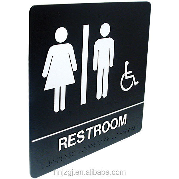 Casting craftsman .Factory customized high quality braille toilet sign