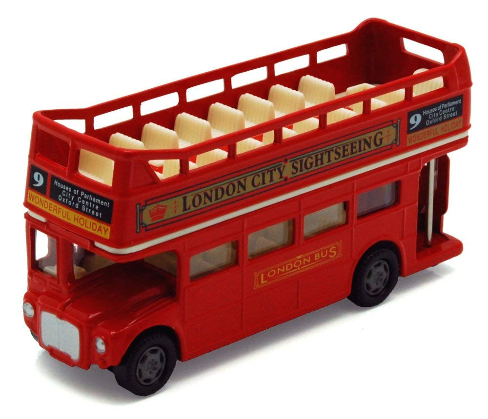 "London Double Decker Bus Open Top, Red - Motormax 76008 - 4.75"" Diecast Model Toy Car"